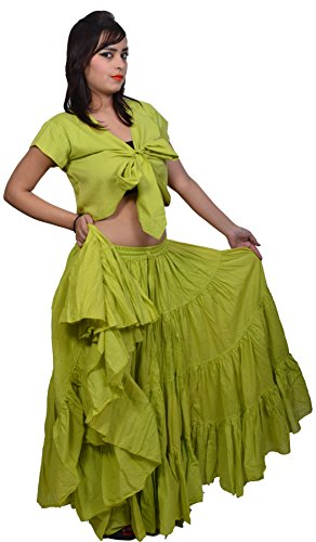 Skirt Circle Cotton (Wevez Women's Gypsy 25 Yard Solid Color Cotton Skirt, One Size, Lime Green)