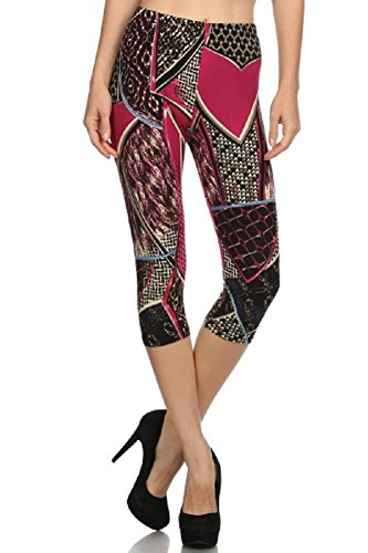 Elegant4U Junior's Printed Burlap on Pink Capri Leggings (Tween Leggings)