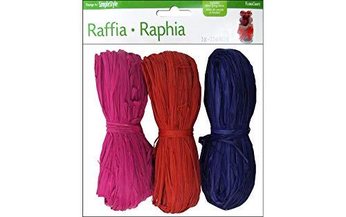 FloraCraft Dyed Raffia 2.3 Ounce Value Pack - Purple, Red, Fuchsia