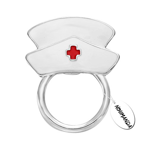 (NOUMANDA White Enamel Nurse Hat Eyeglass Holder Safety Magnetic Pin Holder)
