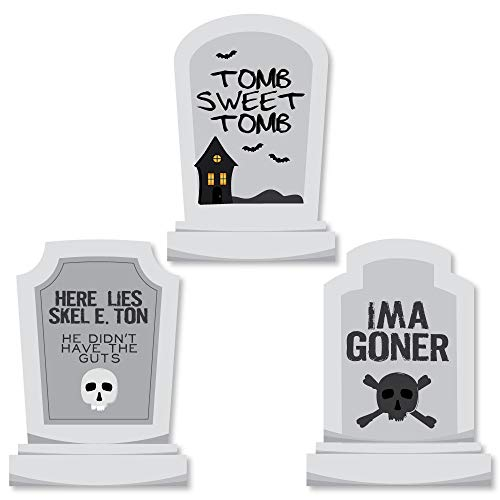 Big Dot of Happiness Graveyard Tombstones - DIY Shaped Halloween Party Cut-Outs - 24 Count]()