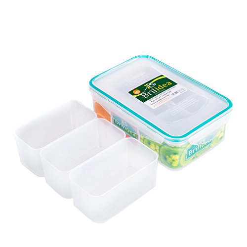 Leakproof Bento Lunch Box - Food Storage Container with Airtight Lid and 3 Removable Compartment Dividers 1.22 QT, Odor Proof, Plastic, Freezer Fridge safe, Microwave Dishwasher safe (1)