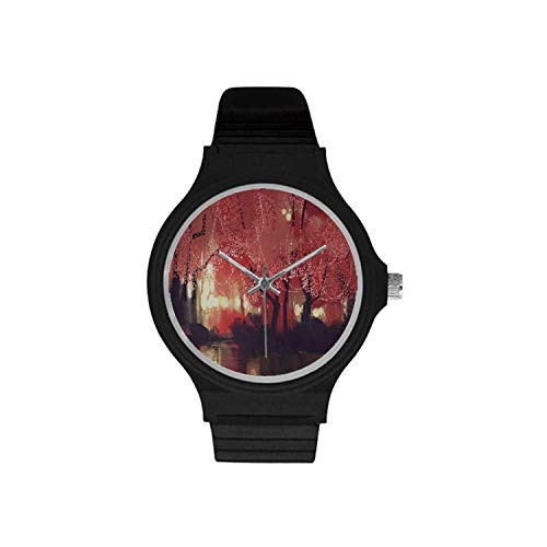 Nature Decor Utility Unisex Round Plastic Watch,Enchanted Mist Forest with Shady Autumn Trees at Night Magical Paint Artwork for Daily,Case Diameter : 37mm ()