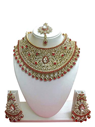 CROWN JEWEL Indian Bollywood Style Fashion Gold Plated Bridal Jewelry Necklace Earring Set for Women (Red)