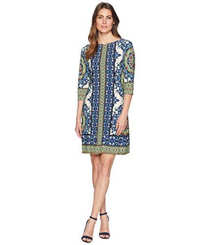 London Times Women's Matte Jersey Printed 3/4 Sleeve Dress Ivory/Blue 16