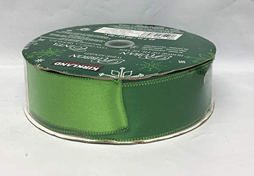 - Kirkland Wire Edged Ribbon Christmas Lt Green/Green Double Sided Satin 50 Yards 1.5 inches