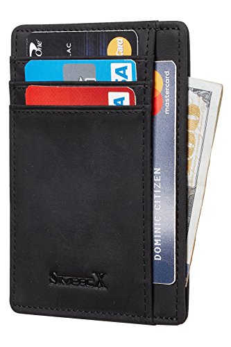 Portable Wallet (SimpacX Slim Wallet RFID Front Pocket Wallet Minimalist Secure Thin Credit Card Holder (crazy horse black))