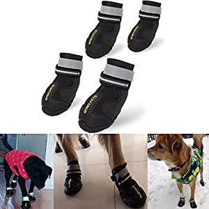 QUMY Dog Boots Waterproof Shoes for Large Dogs with Reflective Velcro Rugged Anti-Slip Sole Black 4PCS 53