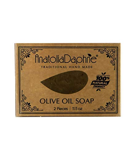 100% Natural Olive Soap - 2 Bar Pack Handmade Cold Pressed Unprocessed Body Bath Kitchen Laundry Multi-Purpose Cleansing Bar Safe Hypoallergenic Washing Agent for Family - Ideal Gift Idea (2 Bar)