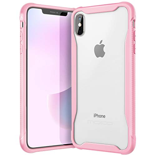MoKo Compatible with iPhone Xs Max Case, Anti-Scratch Slim Hard PC Backplate Hybrid + TPU Bumper Shock Aborsption Cellphone Shell Fit with Apple iPhone Xs Max 6.5 inch 2018 - Pink