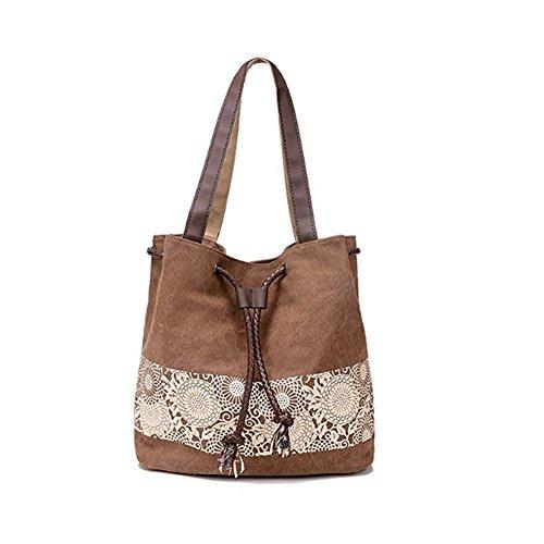 Retro Shoulder Messenger Bags Handbags Casual MOWANG Coffee Bag Printing Canvas qagwwFIO