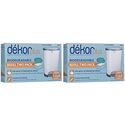 Diaper Dekor Plus 2 Packs Containing 2 Refills each (4 total refills) Biodegradable by DEKOR