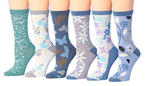 Tipi Toe Women's 6-Pairs Colorful Funky Patterned Crew Dress Socks - Stripe Socks Flower