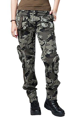 chouyatou Women's Casual Camouflage Multi Pockets Cargo Pants (X-Small, ()
