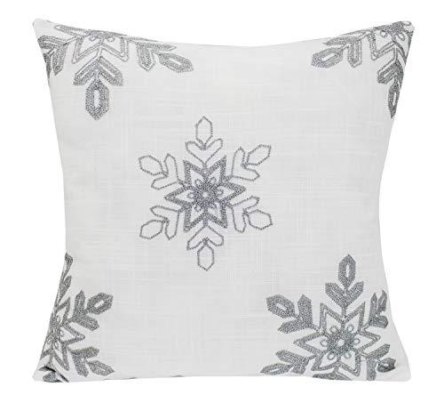 Fennco Styles Holiday Nivalis Collection Snowflake Design Christmas Decorative Throw Pillow Case - 3 Colors (Silver, 18x18 Pillow Case)
