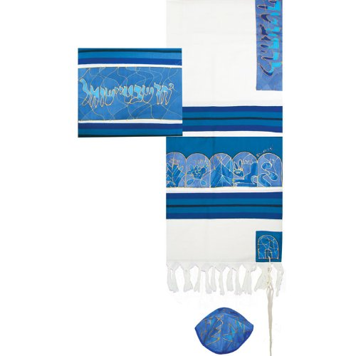 (The Twelve Tribes in Blue Cotton and Silk Tallit Prayer Shawl Set - by Yair Emanuel - Size 21