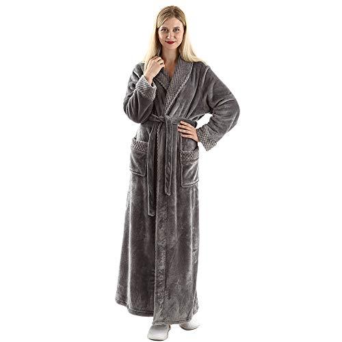 Full Length Fleece Robe Cozy Plush Long Warm Bathrobe with Waist Belt for Womens Grey