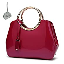 Micom Solid Faux Patent Leather Tote Shoulder Crossbody Bag for Women