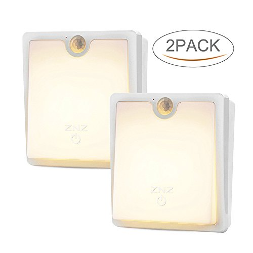 LED Motion Sensor Wall Light - Smart Lights Dimmable LED Night Light Cordless USB Rechargeable Lamp Stair Closet Cabinet Light for Hallway Bathroom Bedroom Kitchen Pack of 2 ( Warm Light ) by ZNZ