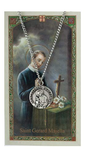 Inspire Nation St Gerard Majella Medal Pendant Necklace Pewter on 18 inch Chain with Prayer -
