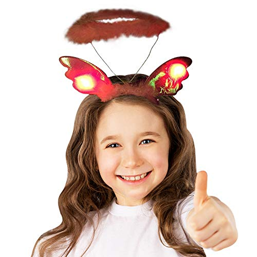 (Fun Central BC726, 1 Pc LED Plush Angel Headband, LED Headband, LED Light Headband, LED Headbands Women, Angel Halo Headband Adult Pink)