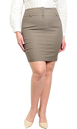 Have Plus Size Women's High Waist Front Button Pencil Skirt - 2XL