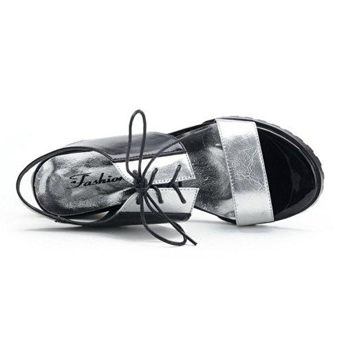Heel varios para Sandalias Platform mujer VogueZone009 colores suave PU Toe plateado vendaje Kitten Open Material con de d7qXwSvx