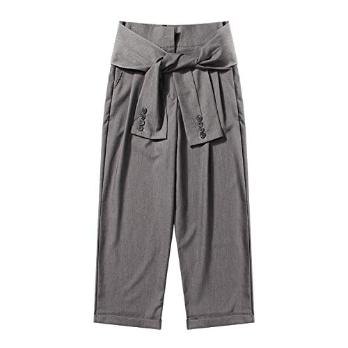 (High Waist Trousers Wide Leg Pants Loose Big Size Bandage Ankle Length Pant Tide,Gray,M)