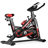 Green starsDomestic Black Spinning Bike Fitness Bike Fixed Comfortable Seat Cushion Bicycle with Mobile Phone Bracket, Adjustable Seat, Suitable for Home Gym Exercise