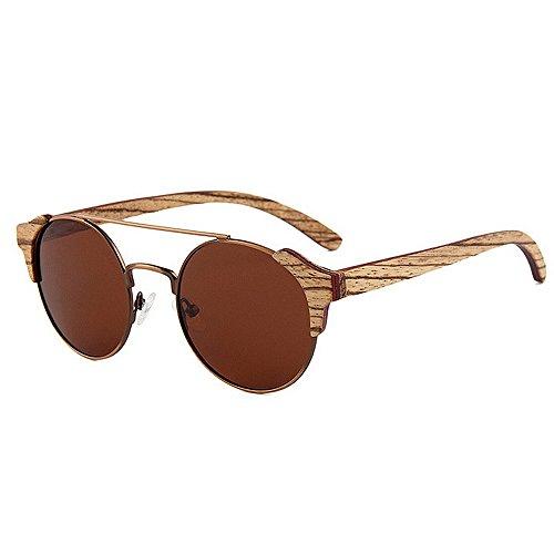 metal Retro Protección gafas de hechas madera hombres mano calidad sol la conduce sol personalidad las alta marco los de de de a Gafas de de polarizadas sol Beach Sungl Marrón de Gafas que de de ULTRAVIOLETA rq4rwA1