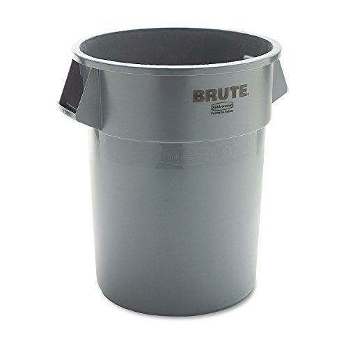 Brute Container Dolly Waste (Round Brute® Waste Container, 55-Gallon Capacity, 26-1/2 dia. x 33h, Gray (RUB265500GY))