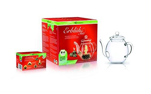 Creano Erblüh-Tee BIO Geschenkset, 4 Teeblumen in verschiedenen Sorten, 1 Creano Teekanne 500 ml, weiß