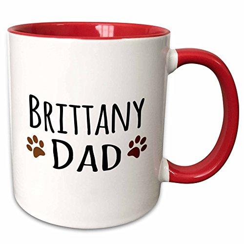tany Spaniel Dog Dad Two Tone Mug, 11 oz, Red (Brittany Cup)