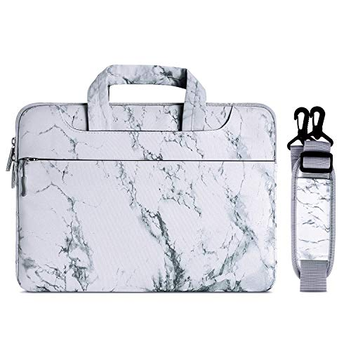 MOSISO Laptop Shoulder Bag Compatible with 2019 2018 MacBook Air 13 inch A1932 Retina Display, 13 inch MacBook Pro A2159 A1989 A1706 A1708 2016-2019, Canvas Marble Pattern Briefcase Sleeve, White
