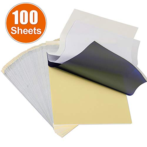 (SLSY Tattoo Transfer Paper 100 Sheets, Thermal Stencil Paper for Tattooing, Tattoo Transfer Kit, DIY Tattoo Tracing Paper to Skin, A4 Size)