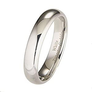 White Tungsten Carbide 5mm Polished Classic Wedding Ring