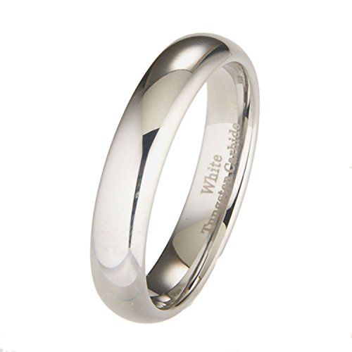 MJ Metals Jewelry 5mm White Tungsten Carbide Polished Classic Wedding Ring Size 7.5