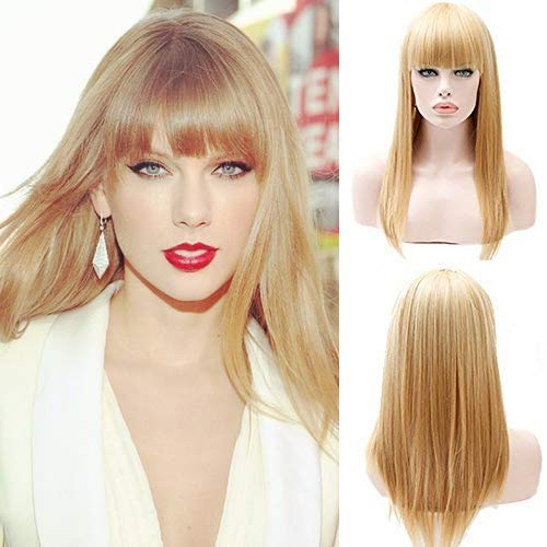 Party Queen Taylor Swift with the Same Cosplay Wigs Short Bob Wigs with Bangs Heat Resistant Synthetic Hair Wigs with Baby Hair Cheap Honey Blonde Straight Hair Wigs for Women ()