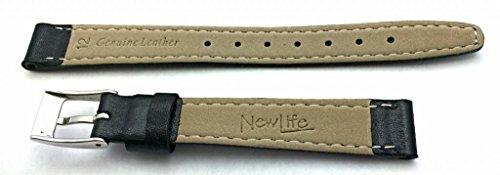 NewLife Black Elegant Stitched Calf Leather, flat, 12mm