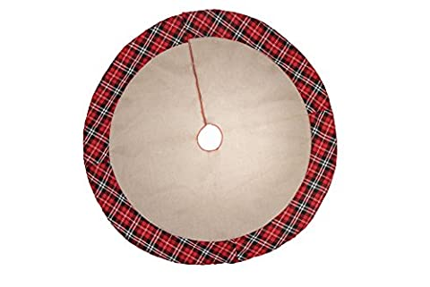 """Burlap and Plaid Christmas Tree Skirt by Clever Creations   Burlap with Traditional Plaid Border   Traditional Theme Festive Holiday Design  Helps Contain Needle and Sap Mess on Floor   36"""" - Design Christmas Tree Skirt"""