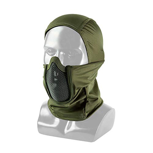 OneTigris Balaclava Mesh Mask Ninja Style with Full Face Protection (OD Green)