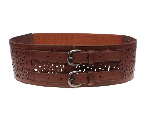 Herebuy - Vintage Leather Elastic Waist Belt Fashion Wide Belts for Women (Brown) (Wide Dress Belt)