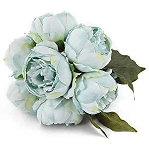 Artificial Flower Peony Silk 1 Bouquet 7 Heads 3 Leaves Vintage Home Decoration Party Wedding (Sky Blue) 4