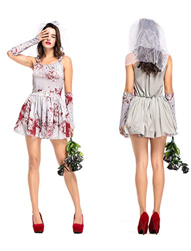 Havitar Art Costume Halloween Cosplay Costume Bloody Bride Ghost Costume (Halloween Ghost -