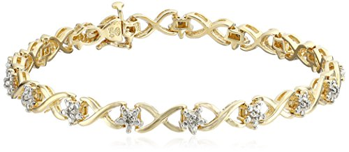 18k Yellow Gold Over Sterling Silver Diamond Star Bracelet (1/10cttw, I-J Color, I2-I3 Clarity), 7.5