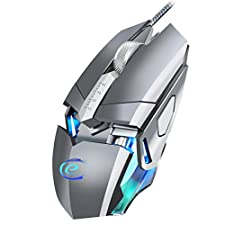 Wired Gaming Mouse Ergonomic Optical PC Mouse 9 Programmable Buttons 4000 DPI 7 Circular Breathing Light USB Mouse for Laptop computer Mice