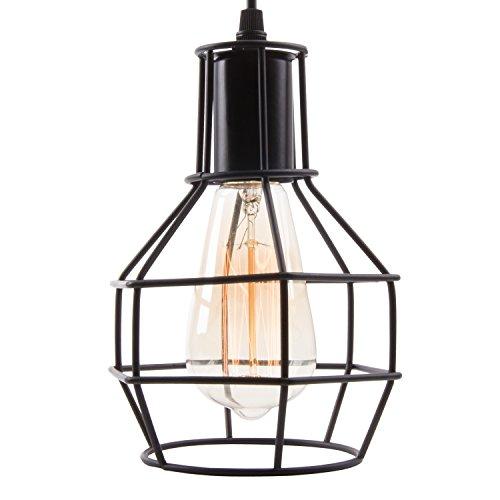 Veesee E26 Hanging Adjustable Industrial Lighting Fixtures,Vintage Ceiling Pendant Lamp Cage Holders,Edison Bulb Metal Chandelier Drop Light for Kitchen Island Restaurant Coffee(Black) by Veesee (Image #1)