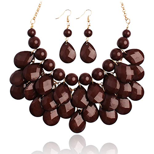 RIAH FASHION Chunky Acrylic Jewel Cluster Floating Bubble Statement Necklace - Teardrop Dangle Layered Bib Collar (Brown) ()