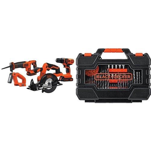 Black & Decker LDX120C 20-Volt MAX Lithium-Ion Cordless Drill/Driver w/ Project Kit 132 Piece