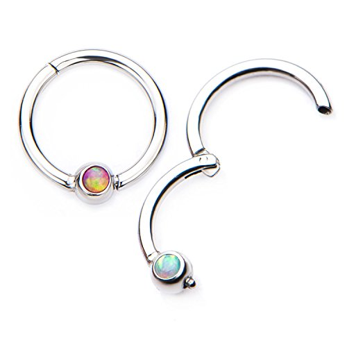 16G Opal Centered Stainless Steel Hinged Segment Ring for Septum, Nostril, Lip, and Ear Piercings (3/8